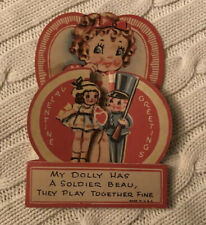 "Vintage 1930's Pop Out Valentine Girl & Doll & Boy Soldier Card ~ 6"" ~ Great"