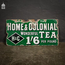 Original Home and Colonial Tea Enamel Advertising Sign
