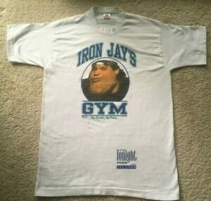 VINTAGE 1995 IRON JAY LENO'S GYM THE TONIGHT SHOW T-SHIRT vtg comedy SNL 1990s