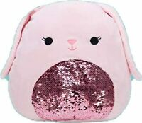 "Squishmallow 12"" Bop The Pink Bunny Sequin Super Soft Plush Pillow Pet"