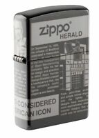 Zippo Newsprint 360 Laser Black Ice Windproof Pocket Lighter, 49049