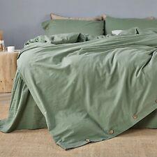 Jellymoni Green 100% Washed Cotton Duvet Cover Set, 2 Piece Luxury Soft Set