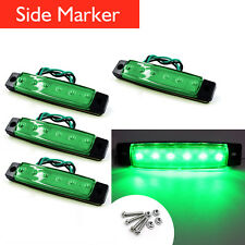 4x Green 6 LED Side Marker Lights Lamp 12V Lorries Buses Truck Trailer Clearance