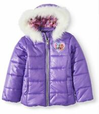 Paw Patrol Skye Puffer Winter Jacket Size 2T 3T Faux Fur Trimmed Hooded Coat