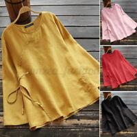 ZANZEA Femme Chemise Automne Manche Longue 100% coton O-cou Loisirs Shirt Haut