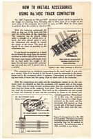 [56768] 1954 LIONEL TRAINS No. 145C TRACK CONTACTOR OPERATING INSTRUCTIONS