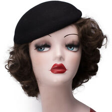 Round Womens Wool Felt Fascinator Pillbox Beret Hat Millinery Base Cocktail A048