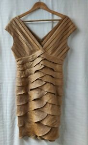 Adrianna Papell Knee Length Gold Occasion Dress. UK Size 10