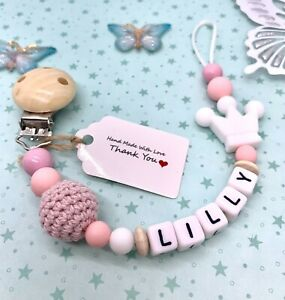 Personalised Baby Dummy Clip Pacifier Chain Silicone Wooden Baby Shower Gift