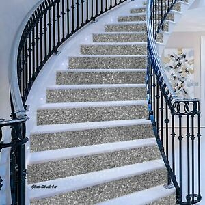 """-15cm (6"""") Wall Paper Silver Glitter Stairs Risers Fabric Self Adhesive self"""