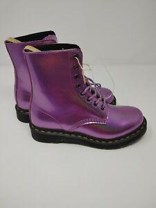 NEW Dr Martens Woman's 1460 Pascal Vegan Boots Purple Shimmer Womans SZ 7 CA004
