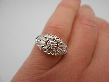 Gorgeous Antique Vintage 14k Solid White Gold Diamond Hand Made Ring Size 6.75