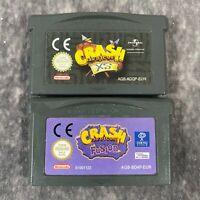 Crash Bandicoot XS & Fusion Nintendo Game Boy Advance GBA Game Bundle Genuine