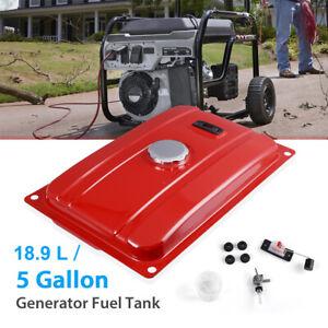Universal 5 Gallon Generator Gas Fuel Tank w/ Valve Chrome Cap Fits 18.9 Liters
