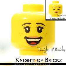 LEGO Minifigure Head YELLOW Female Dual Open Smile with Teeth / Sleeping