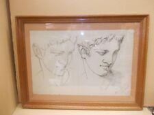 ancien dessin Etude de  buste Grec crayon Marguerite Henneau  28 avril 1889