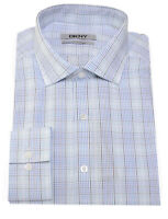 DKNY Slim Fit Blue Plaid Check Cotton Cutaway Collar Dress Shirt