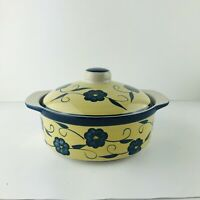 Mulberry 8x3 Inch Yellow Casserole Dish With Blue Flowers And Lid