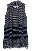 Trenery Womens Black/Grey Striped Sleeveless Wool Blend Cardigan Size S