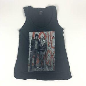 Teenage Runaway Sleeveless Shirt Love Sucks Werewolf Graphic Black Tank Size S