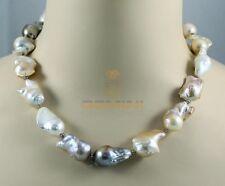 Perlenkette große Süßwasserperlen multicolour Halskette für Damen 48 cm