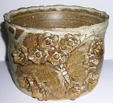 Julie Woods Studio Pottery - Planter - Raised Butterfly & Flowers Design.