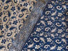 Tessuto vintage in seta vegetale e lana kashmir blu petrolio e oro. Anni 60