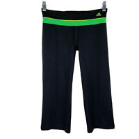 Adidas Womens Work Out Capri Climalite Cropped Leggings Size XS Black Green