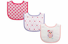 SFK Luvable Friends Owl Drool Bibs, 3-pack feeding drool baby infant bib
