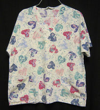 Large Cherokee Scrub Top White with Color Splashes and Hearts