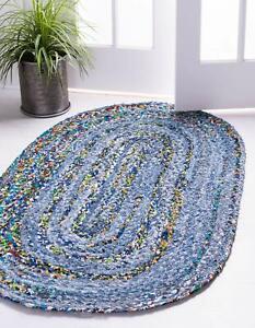 Oval Rug Denim Cotton Braided Floor Mat Handmade Carpet  Reversible Area Rug