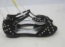 Summer Black Open Toe Silver Spikes Sexy Cool Shoes Sandals Size 7.5