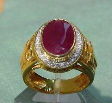 Bishop 18K Gold Ruby Diamond Pastoral Ring