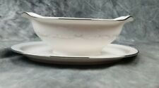 Noritake Irene Gravy Boat, Creamy White, Grey Scrols, Platinum Trim, Mint
