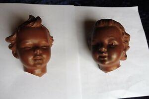2 Kinder Keramik Puppenköpfe von GÖBEL