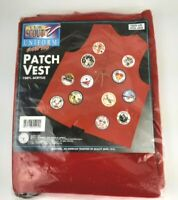 Vtg Cub Scout BSA Uniform Patch Vest Red 1996 Youth Size Extra Large Acrylic NOS