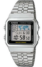 Casio A500WA-1 Men's Retro Metal World Time Alarm Chronograph Digital Watch