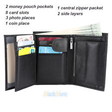 Men's European Cowhide Black Leather Trifold Wallet 3 ID,8 Slots, Change Pocket