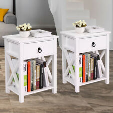 Set Of 2 Bedside Stand End Side Table Nightstands Sofa Storage Furniture