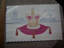 1953 Queen Elizabeth Coronation Souvenir Restaurant Placemat.