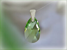 Pendentif goutte cristal Swarovski vert argent 925/1000e PE10