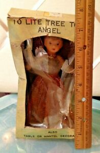 Vintage Japan Boxed Baby Boomer Era Electric Copper Wire Angel Tree Topper!