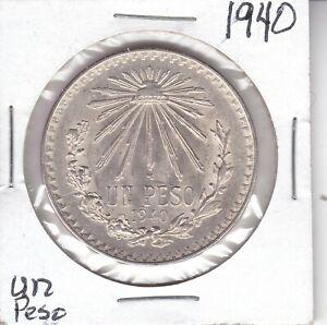 1940 MEXICO .720 FINE SILVER CAP & RAYS 1 UN PESO               CHOICE BU