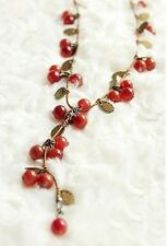 Fashion Women Sweet Little Cherry Charm Long Necklace Sweater Chain Jewelry Gift
