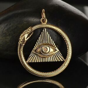 Bronze Ouroboros Pendant Snake All Seeing Eye Charm Serpent Gold Necklace B7023