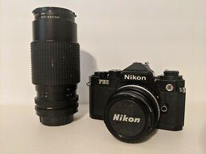 Nikon FE2 35mm SLR Camera w/ 2 Lenses
