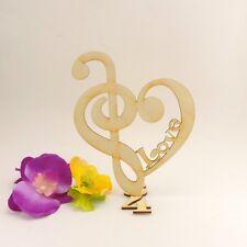 Bassschlüssel mit Notenschlüssel als Herz, mit Love, 3/4 Takt stehend 17cm Holz