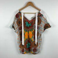 Orientique Womens Top Kaftan Size 16 Multicoloured Boho Short Sleeve V-Neck
