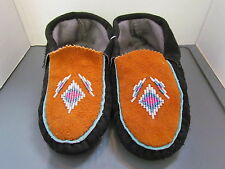 AUTHENTIC NATIVE AMERICAN MOCCASINS/SLIPPERS - BEADED BLACK HIDE DESIGN - 8 IN