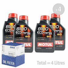 Engine Oil and Filter Service Kit 4 LITRES Motul 8100 Eco-nergy 5W-30 4L